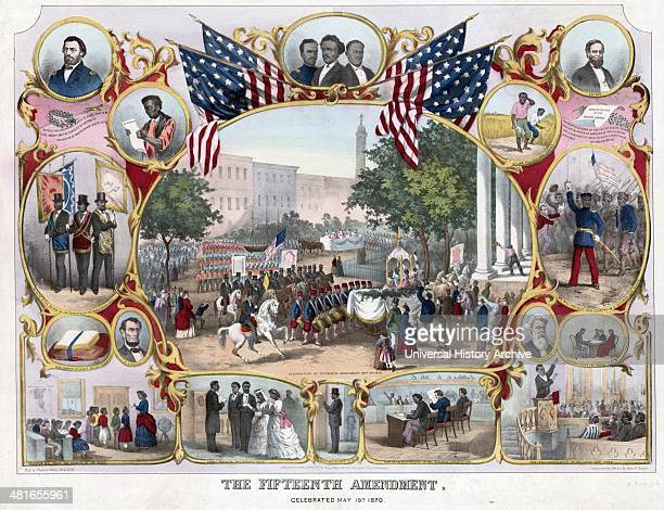 The Fifteenth Amendment Celebrated May 19th 1870 from an original design by James C Beard 18371913 American artist A commemorative print marking the...