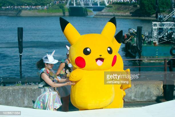 """the fifth annual """"pikachu outbreak"""" in yokohama (2018) - pikachu stock photos and pictures"""