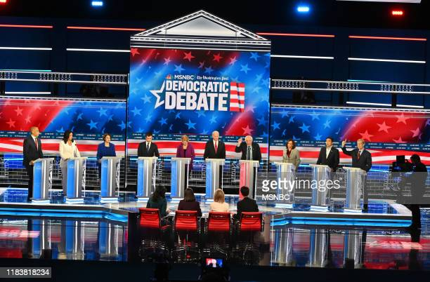 The Fifth Democratic Debate at Tyler Perry Studios in Atlanta, GA on Wednesday, November 20, 2019 -- Pictured: Cory Booker, Tulsi Gabbard, Amy...
