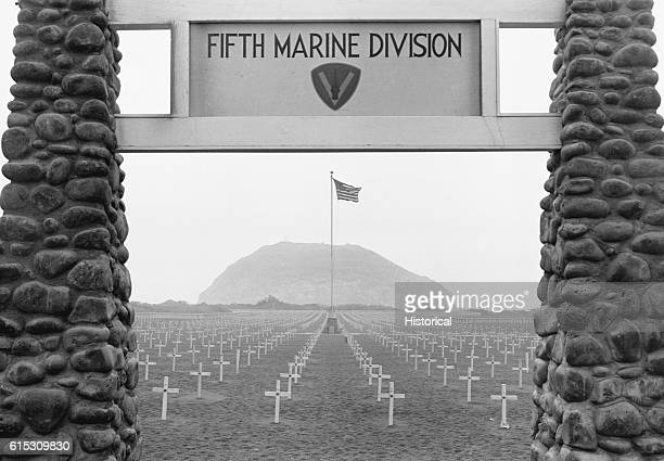 The Fifth Marine division cemetery on Iwo Jima Volcano Islands site of a battle between allied forces and the Japanese during World War II Circa 1945