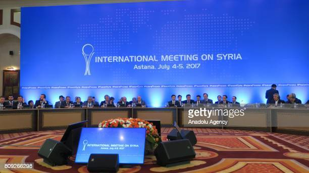 The fifth round of Syria peace talks held at Rixos President Hotel in Astana Kazakhstan on July 05 2017 Turkey Russia and Iran will establish a joint...