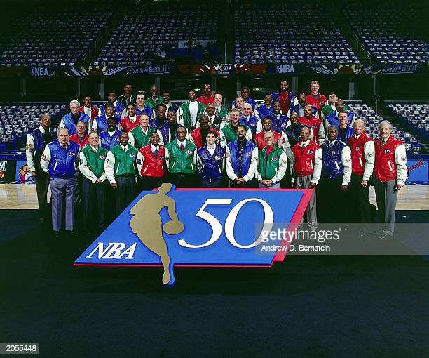 The Fifty Greatest NBA players poses during a photo shoot during the 1997 NBA All-Star Weekend at Gund Arena on February 8, 1997 in Cleveland, Ohio....