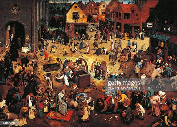 The fight between Carnival and Lent by Pieter Brueghel the Elder oil on panel Detail Vienna Kunsthistorisches Museum