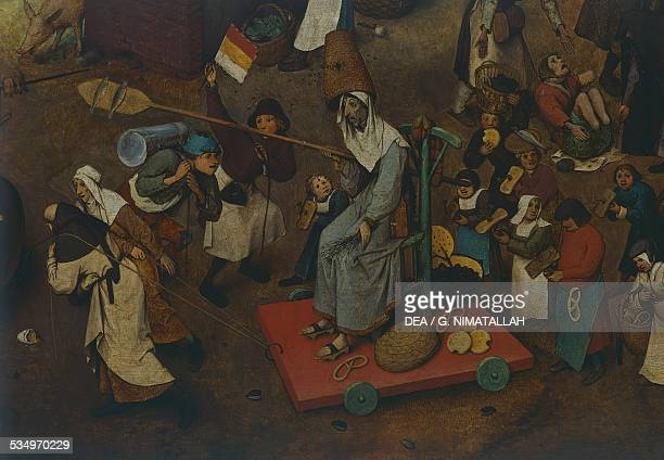 The fight between Carnival and Lent by Pieter Brueghel the Elder oil on panel 118x164 cm Belgium 16th century Detail Vienna Kunsthistorisches Museum