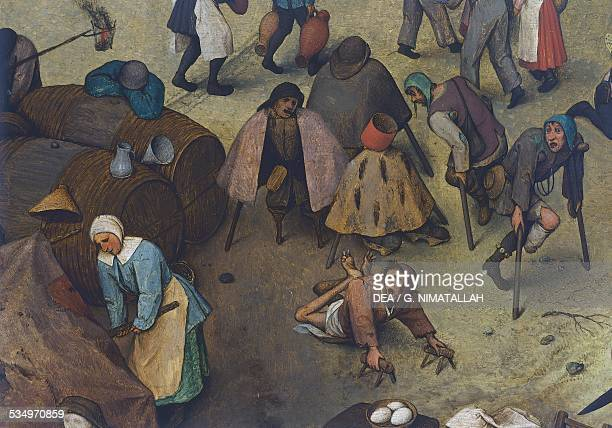 The fight between Carnival and Lent by Pieter Brueghel the Elder , oil on panel, 118x164 cm. Belgium, 16th century. Detail. Vienna, Kunsthistorisches...