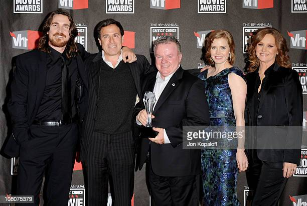 The Fighter cast actor Christian Bale director David O Russell actor Jack McGee actress Amy Adams and actress Melissa Leo pose at the 16th Annual...