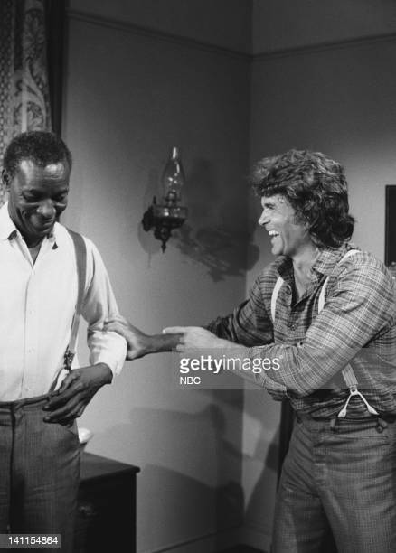PRAIRIE The Fighter Episode 9 Aired Pictured Moses Gunn as Joseph 'Joe' Kagan Michael Landon as Charles Ingalls Photo by Ted Shepherd/NBCU Photo Bank