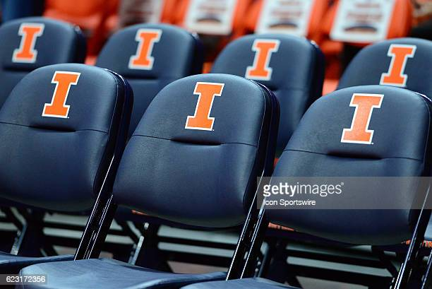 The Fighting Illini logo is displayed on the bench seats during the basketball game between the Northern Kentucky Norse and the Illinois Fighting...