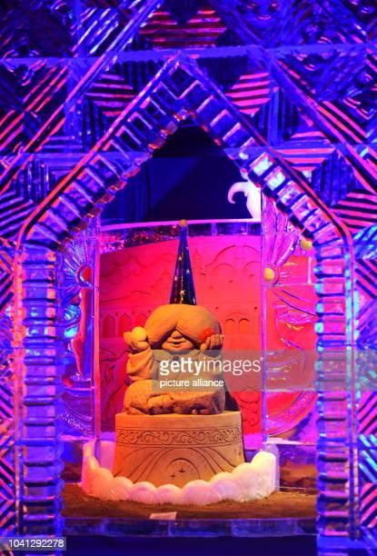 The figure 'Little Muck' in an ice palace by Sergey Tselebrovsky from Russia in the exhibition 'Die schoensten Maerchen aus 1001 Nacht' in Elstal...