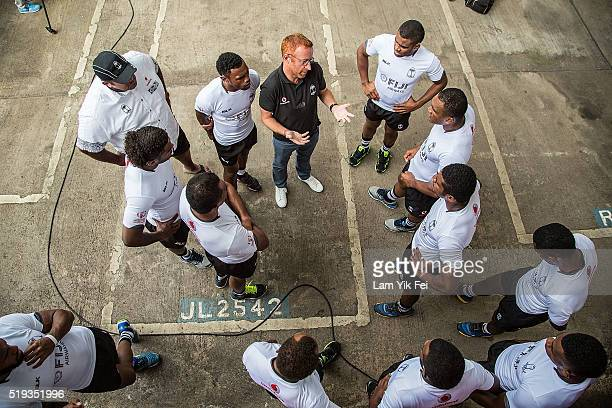 The Fiji national rugby sevens team attends the Hong Kong Sevens Bar Tram Kickoff ceremony on April 6 2016 in Hong Kong The Fiji national rugby...