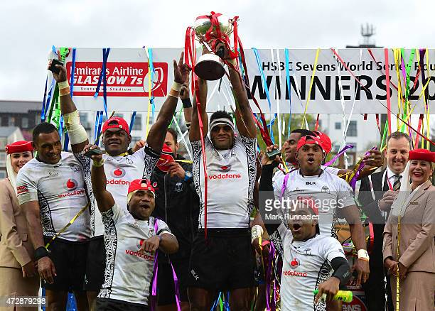 The Fiji team celebrate after winning round 8 of the HSBC Sevens World series during the Emirates Airlines Rugby 7s Cup Final match between New...