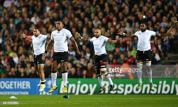 The Fiji team perform the cibi prior to the 2015 Rugby World Cup Pool A match between Fiji and Uruguay at Stadium mk on October 6 2015 in Milton...