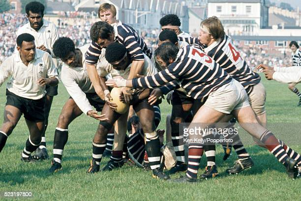 The Fiji team protecting the ball during their match against Swansea at the St Helen's Ground in South Wales 8th September 1973 The match was played...