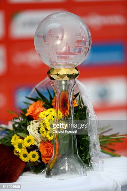 The FIL Luge World Cup trophy is seen during the Viessmann Luge World Cup Day 1 at Veltins EisArena on February 20 2016 in Winterberg Germany