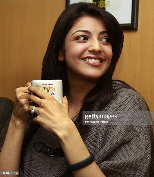The film actor Kajal Aggarwal during the visit to HT House for promotion of her upcoming film Special Chabbis on January 31 2013 in New Delhi India