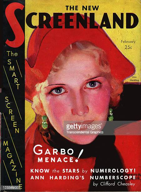 The film actress Ann Harding is the cover girl for Screenland magazine published in New York City in February of 1931