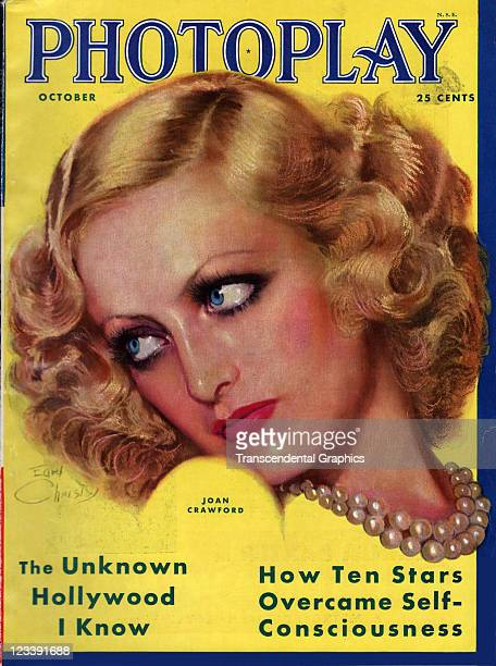 The film actress Joan Crawford is the cover girl for Photoplay magazine published in New York City in August of 1931