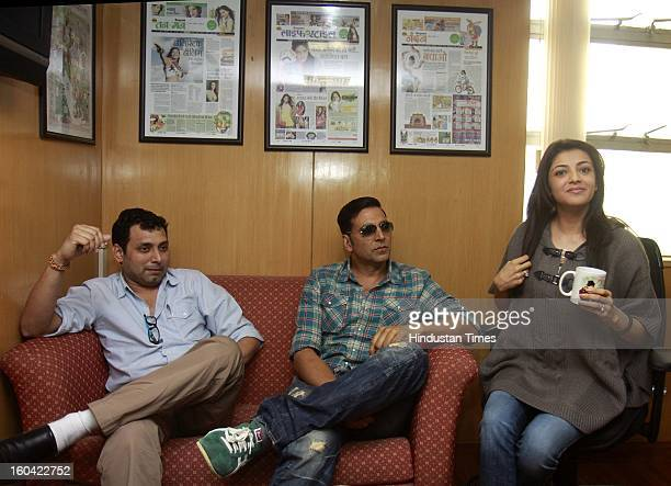 The film director Neeral Pandey with actors Akshay Kumar and Kajal Aggarwal during the visit to HT House for promotion of their upcoming film Special...
