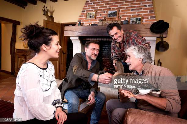 the film director Nicolas Vanier with Christian Moullec with his geese and the actors Melanie Doutey and JeanPaul Rouve are photographed for Paris...