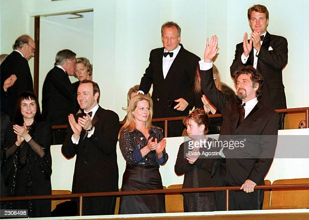 The Film Society of Lincoln Center Gala Tribute to Al Pacino at Avery Fisher Hall Honoree Al Pacino waves to the crowd Front row Diane Venora Kevin...