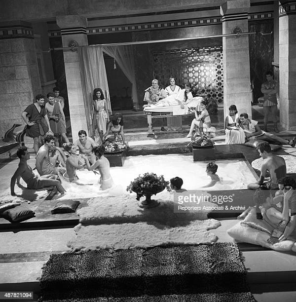 The filming of a scene in Sodom and Gomorrah The cast takes a thermal bath Italy 1961