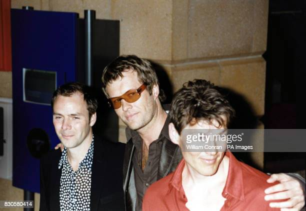 The film's director Harald Zwart and members of pop band Aha lead singer Morten Harket and Magne Furuholmen arriving at the world premiere of 'One...