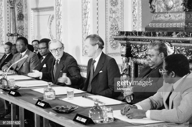 The final agreement on the future of Rhodesia as the independent state of Zimbabwe is signed at a ceremony at Lancaster House Signing the agreement...