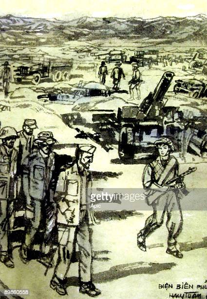the final assault of the Vietminh during the battle of Dien Bien Phu and surrender of the french soldiers may 07 drawing by northvietnamese artist...