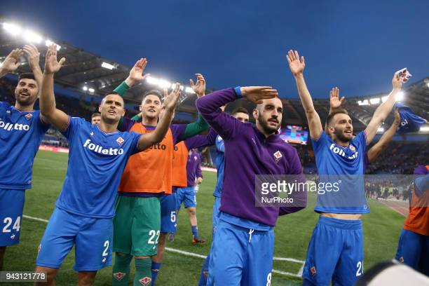 The final celebration of Fiorentina players remembering the captain Davide Astori during the serie A match between AS Roma and ACF Fiorentina at...