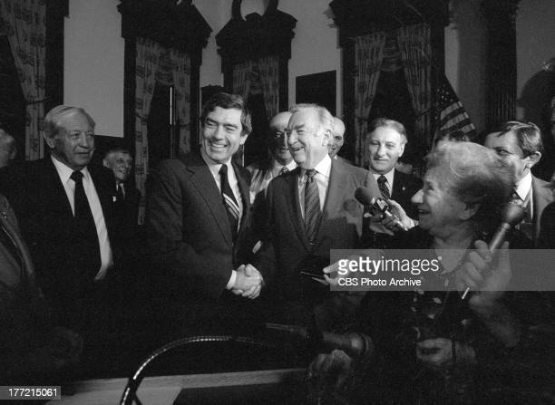 The final day of Walter Cronkite as anchor of the CBS Evening News March 6 1981 Mr Cronkite shakes hands with his replacement as anchor Dan Rather...