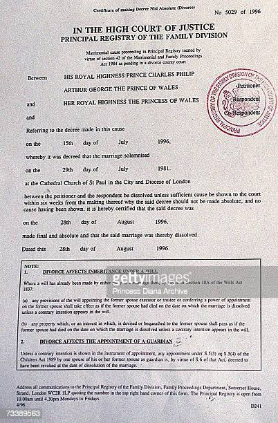 The final divorce papers of Prince Charles Prince of Wales and his former wife Princess Diana Princess of Wales 28th August 1996