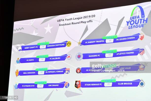 The final draw appears on the screen during the UEFA Youth League 2019/20 Play-Off Draw at the UEFA headquarters, The House of European Football on...
