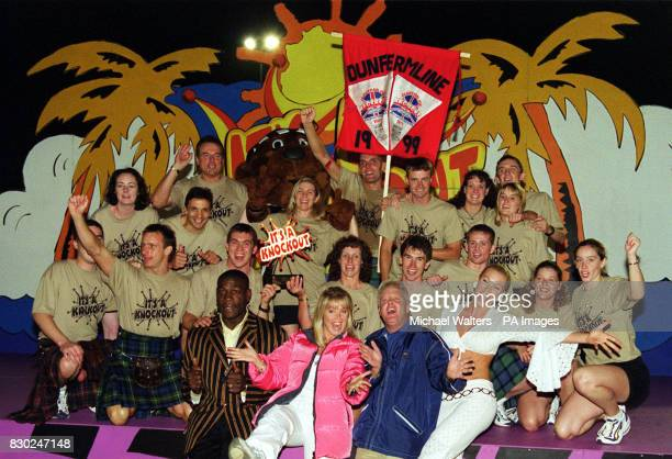 The final filming of Channel 5's 'It's a Knockout' at the Westminster Lodge Leisure Centre presenters Frank Bruno Lucy Alexander Keith Chegwin and...