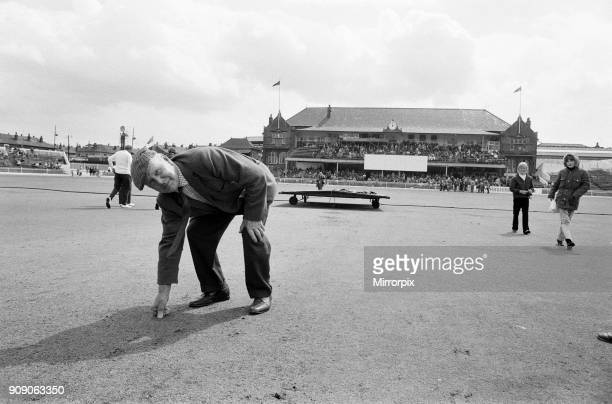 The final first class match to be held at Bramall Lane, Sheffield, the County Championship match between home team Yorkshire and Lancashire. A man...