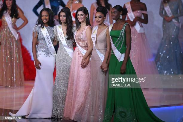 The final five Miss Jamaica ToniAnn Singh Miss India Suman Ratansingh Rao Miss Brazil Elis Coelho Miss France Ophely Mezino and Miss Nigeria Nyekachi...