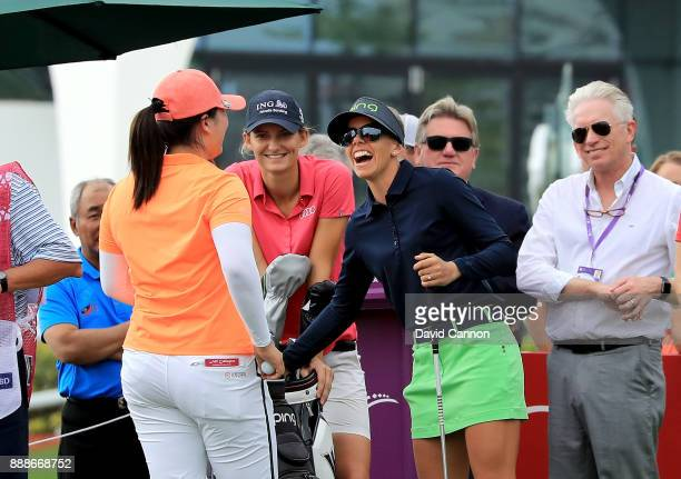 The final group Angel Yin Anne Van Dam and Pernilla Lindberg on the first tee during the final round of the 2017 Dubai Ladies Classic on the Majlis...
