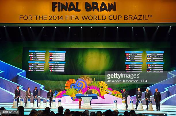 The final groups are displayed on the big screen as the draw assistants Fernanda Lima and FIFA Secretary General Jerome Valcke stand on stage during...