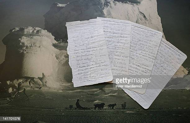 The final letter written by Captain Robert Falcon Scott before his death is displayed on a Herbert Ponting photograph 'The Castle Berg' at Bonhams...