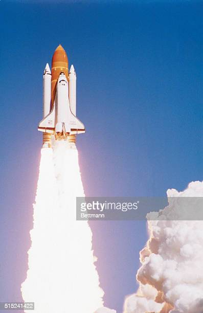 The final moments of the Space Shuttle Challenger as it leaves the launch pad on January 28 1986