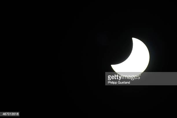 The final phase of a partial solar eclipse is seen on March 20 2015 in GarmischPartenkirchen Germany Over Central Europe the moon was scheduled to...