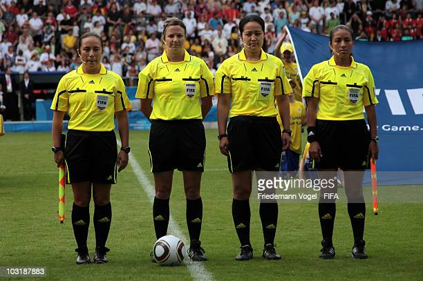 The final referee team with Marlene Duffy Carol Anne Chenard Hong Eun Ah and Rita Munoz poses during the FIFA U20 Women's World Cup Final match...