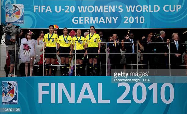 The final referee team with Marlene Duffy Carol Anne Chenard Hong Eun Ah and Rita Munoz pose after the FIFA U20 Women's World Cup Final match between...