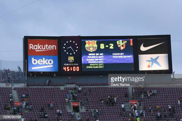 The final result is displayed on the scoreboard during the La Liga match between FC Barcelona and SD Huesca at Camp Nou on September 2 2018 in...