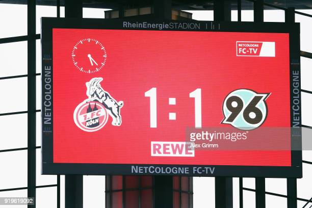 The final result is seen on the video screen after the Bundesliga match between 1 FC Koeln and Hannover 96 at RheinEnergieStadion on February 17 2018...