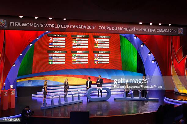 The final results are displayed during the 2015 FIFA Women's World Cup Final Draw at the Canadian Museum of History on December 6 2014 in Gatineau...