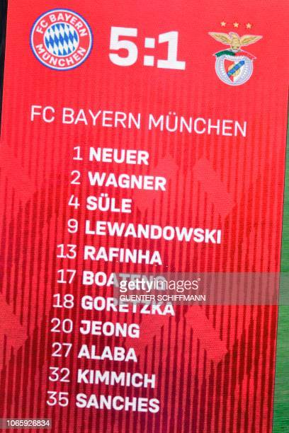 The final score can be seen on the display after the UEFA Champions League Group E football match Bayern Munich vs Benfica Lisbon in Munich southern...