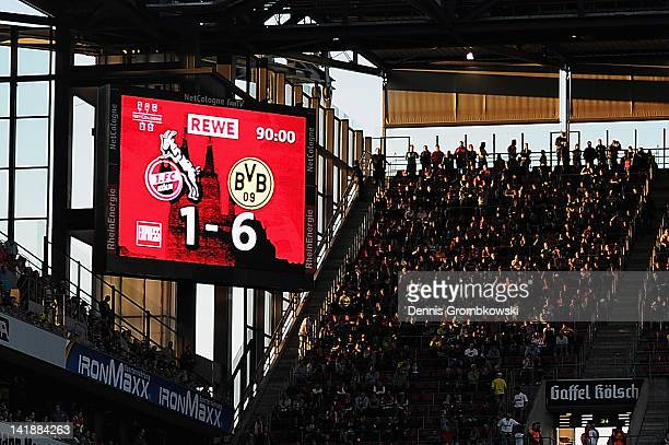The final score is displayed at the score board during the Bundesliga match between 1 FC Koeln and Borussia Dortmund at RheinEnergieStadion on March...