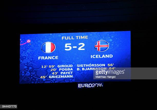 The final score is displayed in the screen after the UEFA EURO 2016 quarter final match between France and Iceland at Stade de France on July 3 2016...