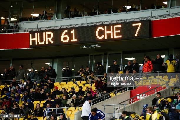 The final score is displayed on a scoreboard during the round 13 Super Rugby match between the Hurricanes and the Cheetahs at Westpac Stadium on May...