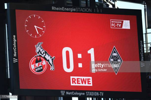 The final score is displayed on the electronic scoreboard after the Bundesliga match between 1 FC Koeln and Borussia Moenchengladbach at...